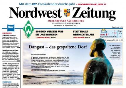 Titelseite der Nordwest Zeitung zum Thema