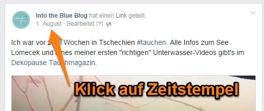 Facebook-Zeitstempel